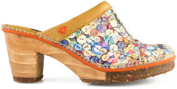 Ladies Art Footwear Button Print Clog Euro Size 41