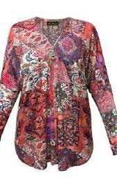 Ladies Cartise Burgundy Multi Print Blouse with Zip Up Front Long Sleeved Size XL - Runwayz Boutique