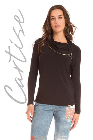 Ladies Black Cartise Top with 2 Gold Zippers style 620227 - Runwayz Boutique