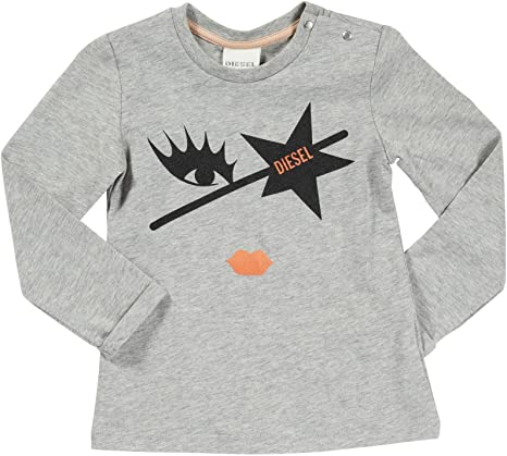 Diesel Baby Girls Top Tigrib T-Shirt Size 36 months 3 Years Grey Rock Star Long Sleeved - Runwayz Boutique
