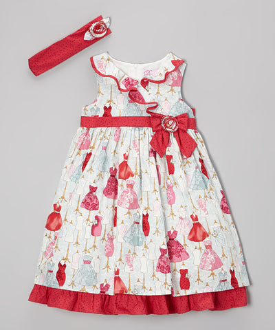 Baby Girls Donita Mannequin Print Dress with Headband 2 Piece Set Sleeveless Style DNA 019