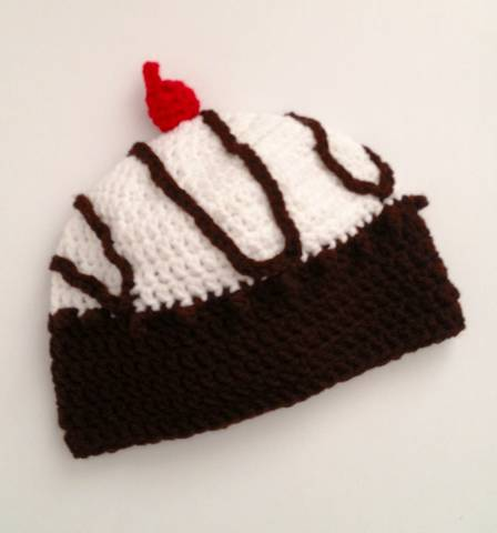 Girls Vanilla Ice Cream Sundae Toque with Chocolate Drizzle Cherry on Top Size 1 to 3 Years Only by Elephant Shoe Knits