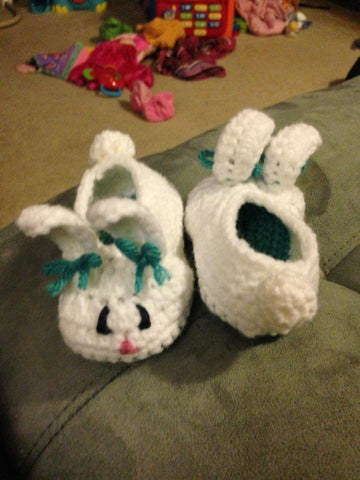 Baby Bunny White Knitted Booties by Elephant Shoe Knits Size 3 to 6 months Only