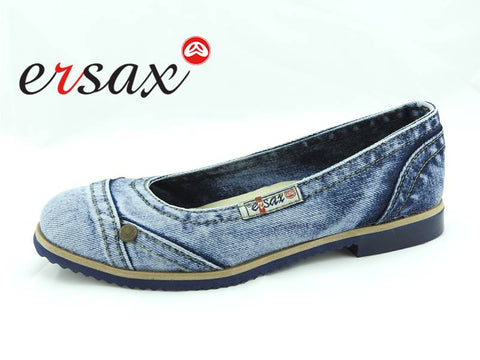 Ladies Ersax Denim Slip On Flat E1-510 - Runwayz Boutique