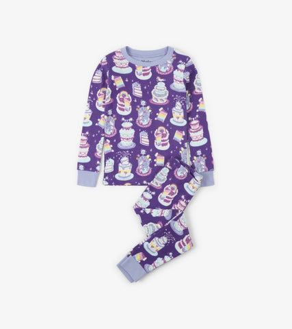 Girls Hatley 2 Piece Pajama Set Purple Colourful Cakes Organic Cotton