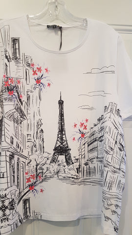 Ladies Leo & Ugo White Top with Eiffel Tower Print Enjoy Life Size XXL Only Style TED967