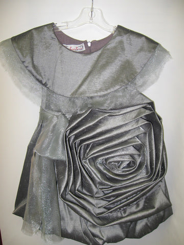 Girls Size 5 Kidcute Ture Silver Sonia Dress Giant Flower