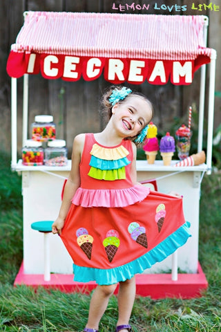 Girls Lemon Loves Lime Ice Cream Parlour Dress Size 2 Years Only