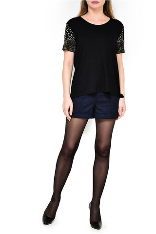 Ladies Leo & Ugo Black Short Sleeved Top with Metallic Studs Grommets on sleeves Style TEB395