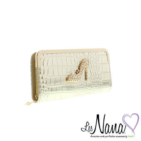 Ladies Les Nanas gold shoe wallet by Mode Tricotto 92726501 0521