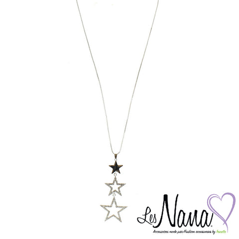 Ladies Mode Tricotto Silver Necklace with 3 Stars by Les Nana