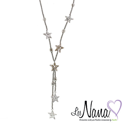 Ladies Mode Tricotto Long Silver Necklace with Stars by Les Nana - Runwayz Boutique