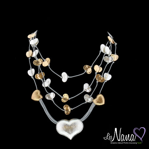 Ladies Mode Tricotto Multi Metallic Hearts Necklace by Les Nana - Runwayz Boutique