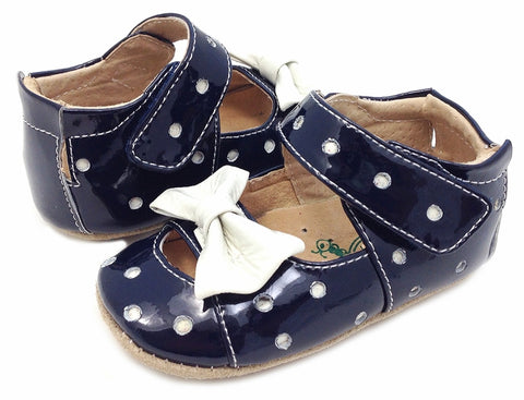 Baby Girls Livie & Luca Minnie Navy Patent Dot Shoes Size 0 to 6 Months Only