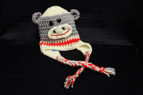 Grey Sock Monkey Knit Toque by Lots of Knots