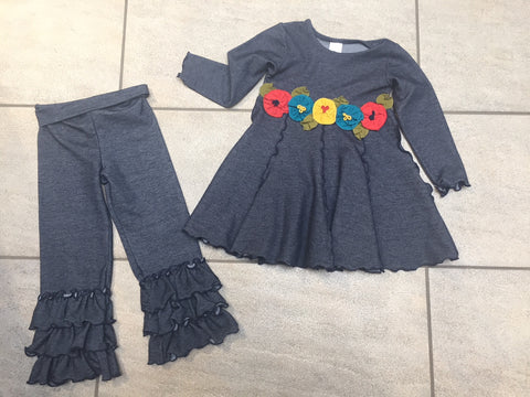 Girls Love U Lots 2 Piece Set Denim Look Ruffled Legging with Tunic Dress Size 3T Only