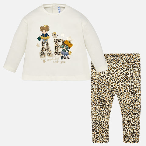 Mayoral Girls Leopard Print 2 Piece Set Leggings and Top Style 2787