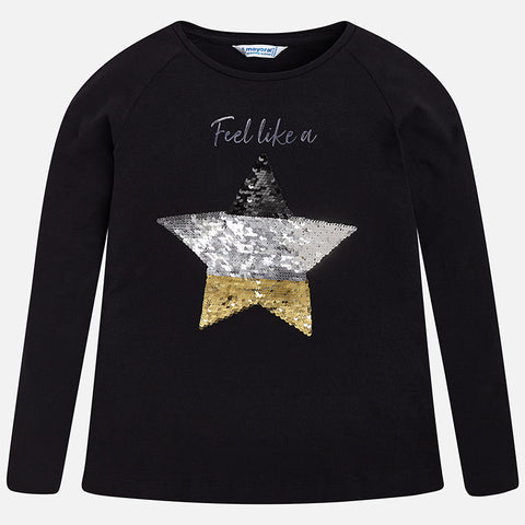 Mayoral Girls Feel Like A Star Long Sleeved Black Top Style 7070
