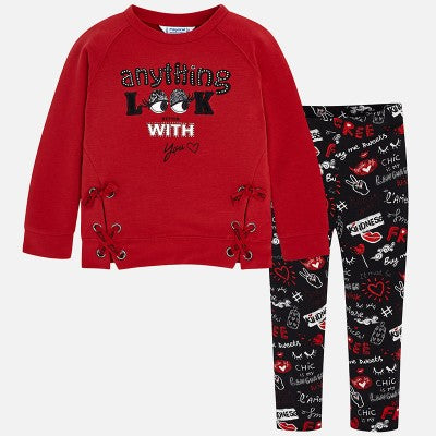 Mayoral Girls Leggings and Red Top Set style 4724 2 pc set Size 5 or 6 Only - Runwayz Boutique
