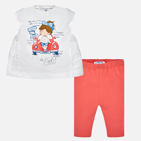 Baby Girls Mayoral 2 Piece Set Style 1750 Road Trip Tunic Top and Leggings