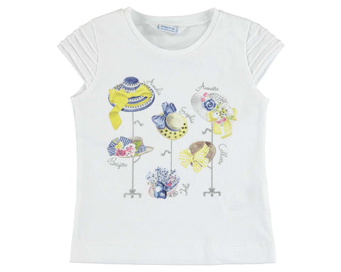 Girls Mayoral White Tshirt with Hats on Stands Style 3013