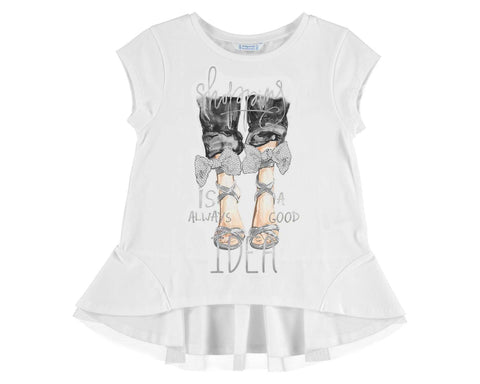 Mayoral Girls White Short Sleeved Shoe Print Top style 6009 Size 12 or 16 - Runwayz Boutique