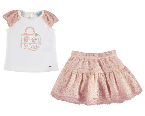 Mayoral Girls 2 Pc Set Lace Skirt Purse Embroidery on Top - Runwayz Boutique