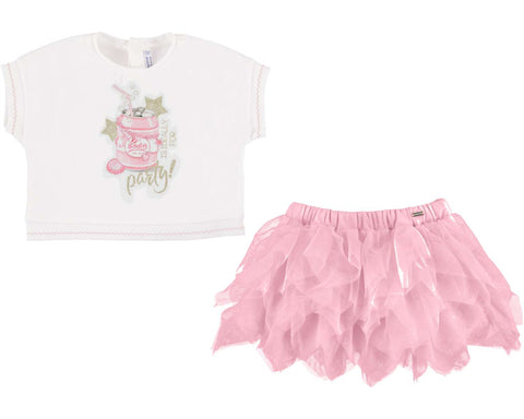 Mayoral Girls Party 2 Piece Set T shirt and Tulle Skirt Size 24 or 36 Months Soda Pop Print - Runwayz Boutique