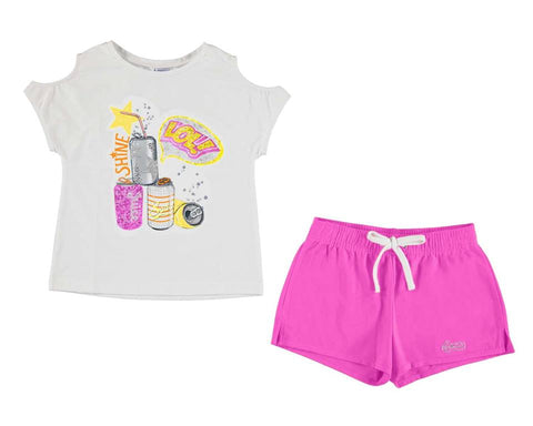 Mayoral Girls 2 Pc Set Cans Top With Hot Pink Short