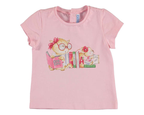 Mayoral Girls T Shirt Kitty with Books Size 24 or 36 Months Available - Runwayz Boutique