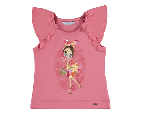 Mayoral Girls T Shirt Girl In Flowered Dress Print