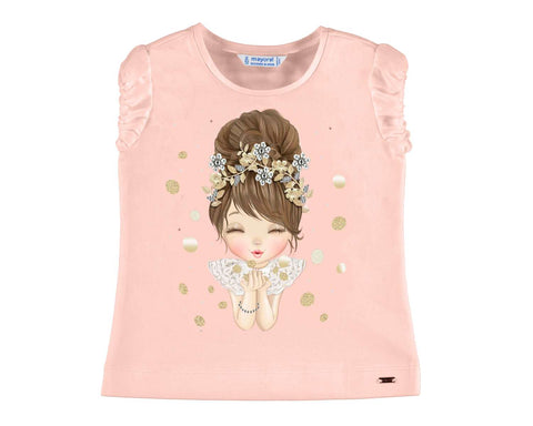 Mayoral Girls T Shirt Girl With Flower Crown Print