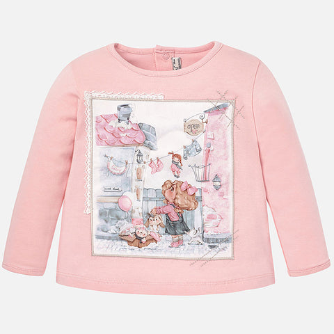 Mayoral Girls Long Sleeved Top Clothesline Print