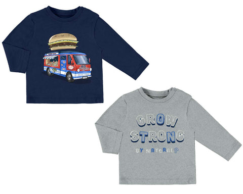 Mayoral Baby Boys set of 2 Long Sleeved Tops Food Truck and Grow Strong Style 2026