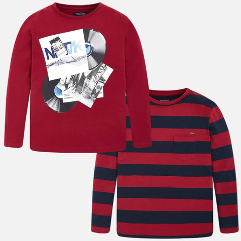 Boys Mayoral Nukutavake 2 Piece Set of Long Sleeved Shirt Set Style 7020 Striped and Music Club Print