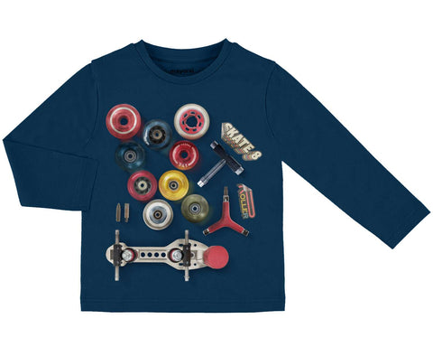 Boys Mayoral Roller Skate 8 Navy Blue Long Sleeved Top Style 4038