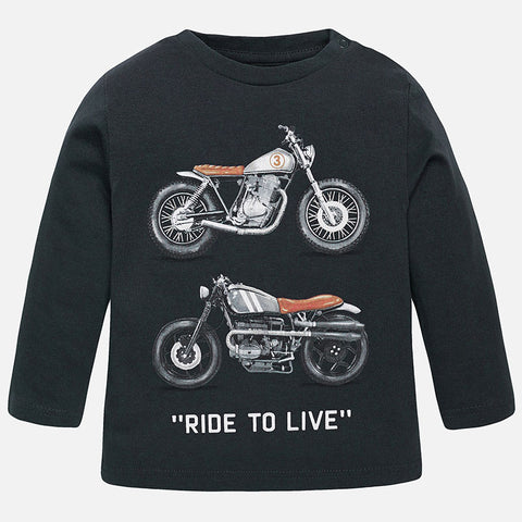 Mayoral Baby Boys Ride to Live Long Sleeved Motorcycle Top style 2402 - Runwayz Boutique