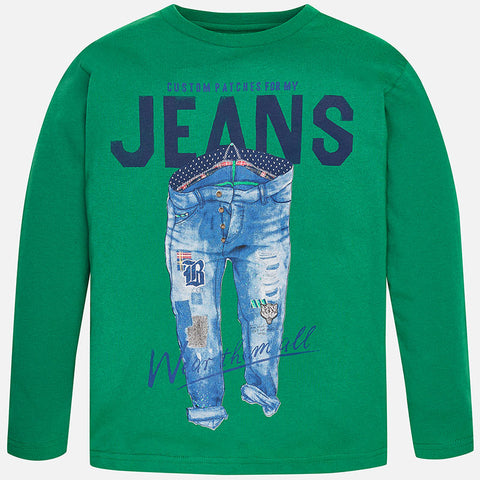 Boys Mayoral Nukutavake Green Long Sleeved Shirt with Pair of Jeans with Patches style 7006