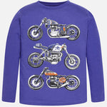 Mayoral Boys Motorcycle Print Long Sleeved Top Style 7018 in Blueberry Color