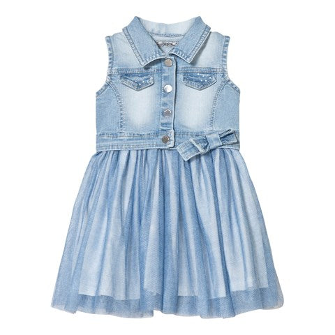 Mayoral Girls Denim Dress with Tulle Skirt Style 3977 Size 8 Only