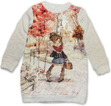 Mayoral Girls 2 Piece Outfit Fall Leaves Girl Walking Dog Style 4956