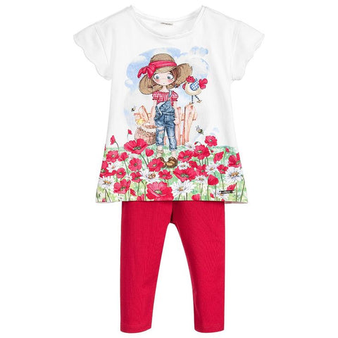Mayoral Girls 2 Piece Set Style 3713 Size 7 Only Red Leggings White Farm Girl in Poppies Tunic Top