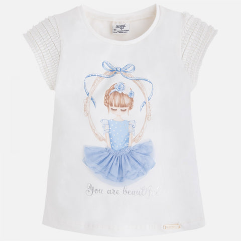 Mayoral Girls Ballerina Ballet Tshirt Style 3055 Size 8 Only You are Beautiful
