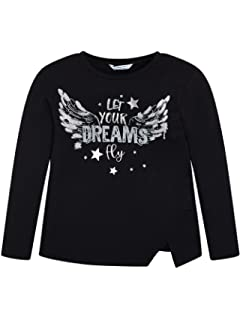 Mayoral Girls Let Your Dreams Fly Long Sleeved Black Top Style 7056