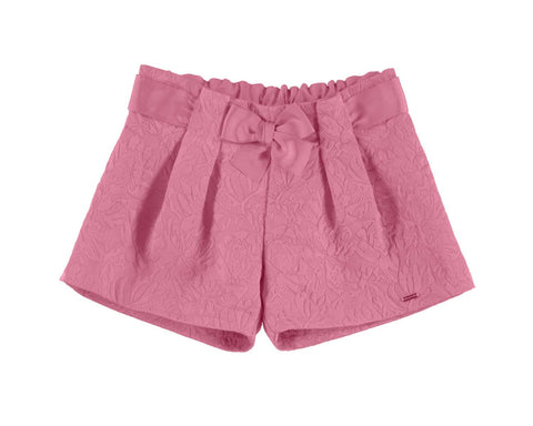 Girls Mayoral Shorts in Bubble Gum Pink Jacquard Material Style 3201