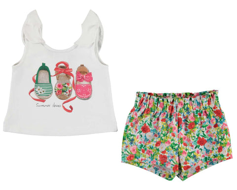Baby Girls Mayoral Summer 2 piece Set Tank top with Flowered Shorts Set Style 1231