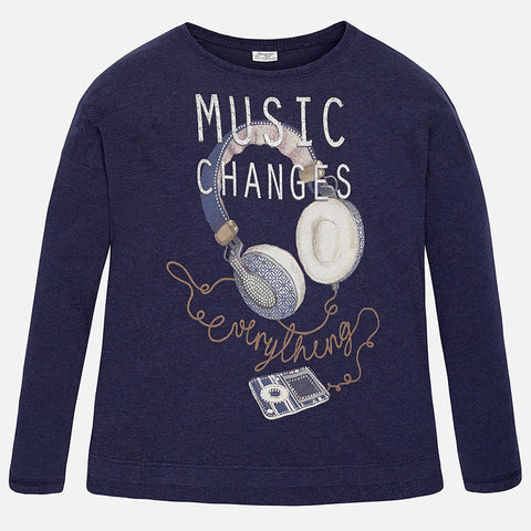 Girls Youth Mayoral Music Changes Everything Navy Long Sleeved Top Style 7068