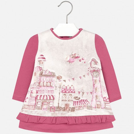 Mayoral Baby Girls Dark Pink Winter Village Print Tunic Dress Size 18 Months Only Style 2952