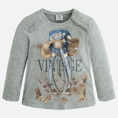 Girls Mayoral Grey Long Sleeved Top Style 4046 Vintage Girl Riding Bicycle