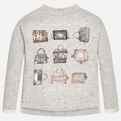 Mayoral Girls Grey Purses Print Sweatshirt Style 7432 - Runwayz Boutique